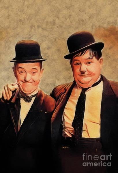Laurel Wall Art - Painting - Laurel And Hardy, Hollywood Legends by John Springfield