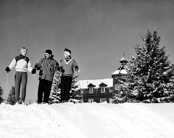 Alpine Skiing Photograph - Laurentian Mountain Skiers by Underwood Archives