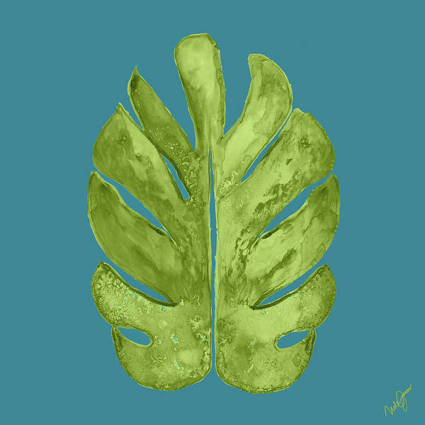 Wall Art - Painting - Leaf On Teal I by Kat Papa