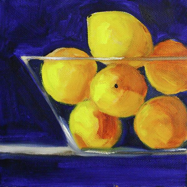 Wall Art - Painting - Lemons On Blue by Nancy Merkle