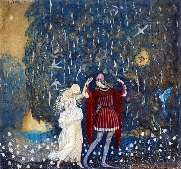 Wall Art - Painting - Lena Dances With The Knight -  by John Bauer
