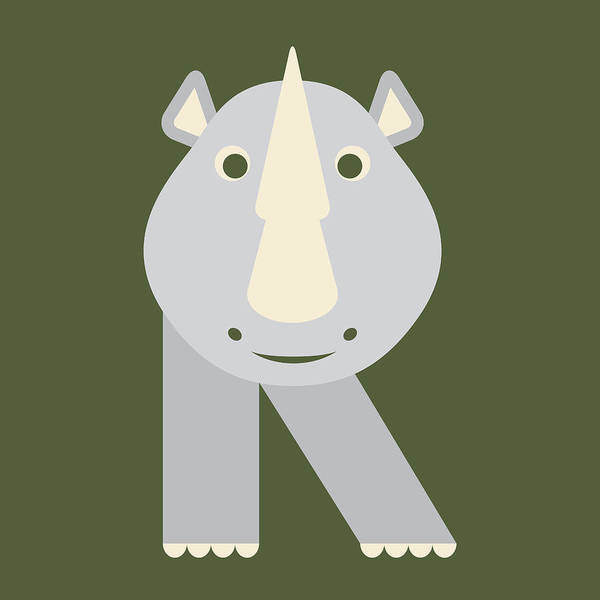 Digital Art - Letter R - Animal Alphabet - Rhino Monogram by Jen Montgomery