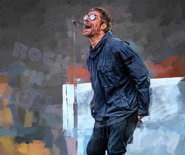 Wall Art - Mixed Media - Liam Gallagher by Mal Bray