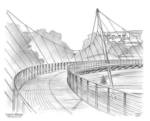 Wall Art - Drawing - Liberty Bridge by Greg Joens