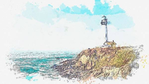 Wall Art - Painting - Lighthouse On The Hill -  Watercolor By Ahmet Asar by Ahmet Asar