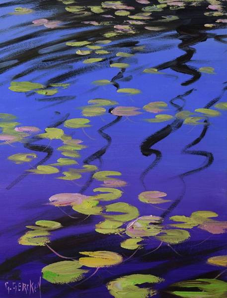 Lilies Painting - Lilies On Blue Water by Graham Gercken
