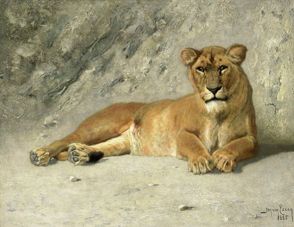 Wall Art - Painting - Lioness Resting, 1885 by Jan van Essen