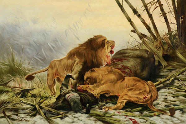 Wall Art - Painting - Lions In The Lagoon by Richard Friese