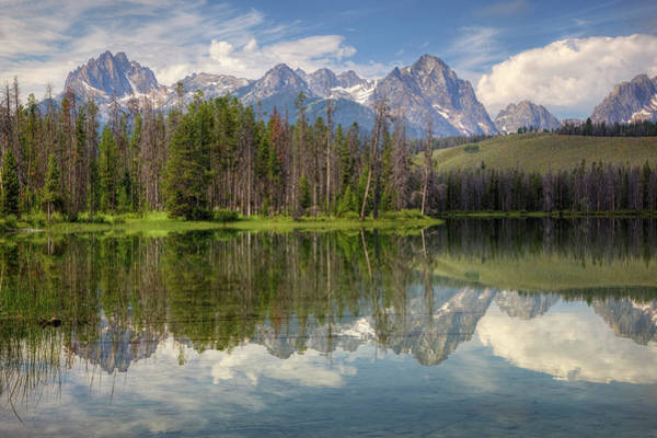 Little People Photograph - Little Redfish Lake With Sawtooth by Danita Delimont