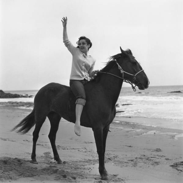 Girl And Horse Photograph - Liz Taylor by Archive Photos