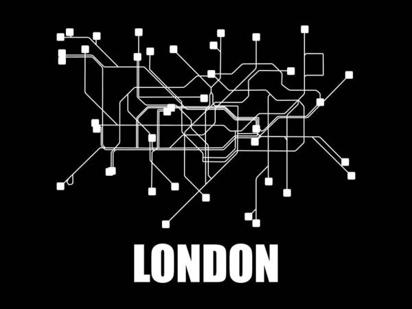 Wall Art - Digital Art - London Black Subway Map by Naxart Studio