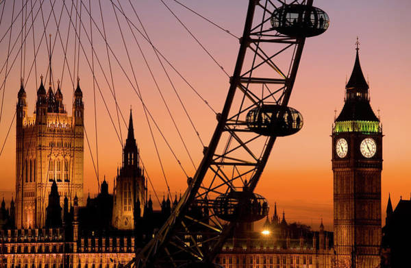 London Eye And Big Ben At Dusk Art Print