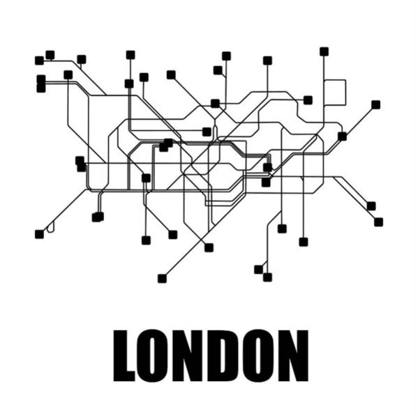 Wall Art - Digital Art - London White Subway Map by Naxart Studio