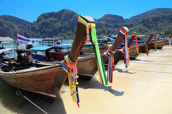 Phi Photograph - Long Tail Wooden Boats by Vuk8691