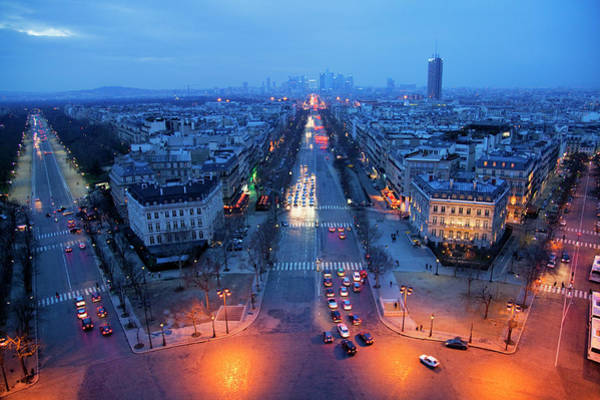 Rush Hour Photograph - Looking Towards La Defence And La by Martin Child