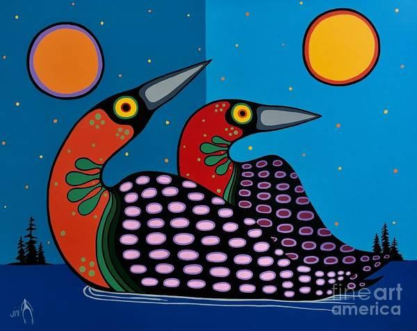 Loon Painting - Loons by Jim Oskineegish