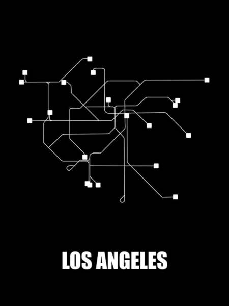 Wall Art - Digital Art - Los Angeles Black Subway Map by Naxart Studio
