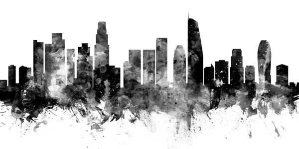 California Digital Art - Los Angeles California Skyline Panoramic by Michael Tompsett