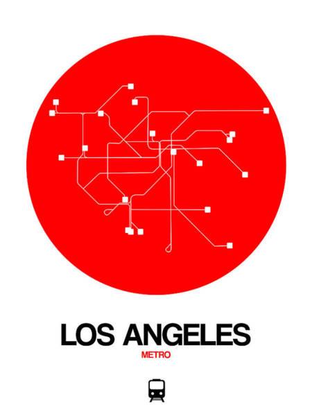 California Digital Art - Los Angeles Red Subway Map by Naxart Studio