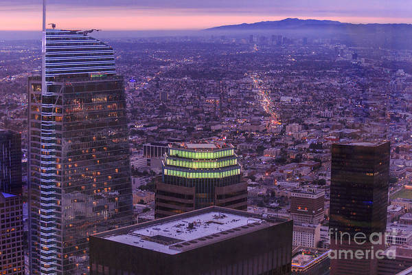 Photograph - Los Angeles Skyline Sunset by Benny Marty