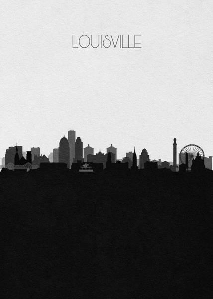 Souvenir Digital Art - Louisville Cityscape Art by Inspirowl Design