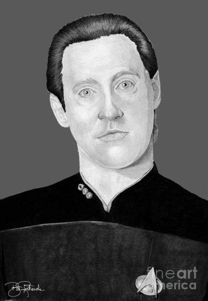 Drawing - Lt. Commander Data by Bill Richards