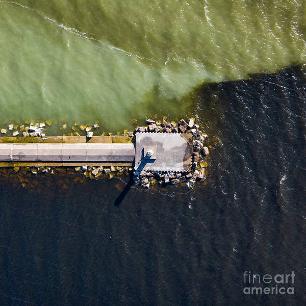 Download Photograph - Ludington Lighthouse Aerial by Twenty Two North Photography