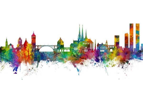Wall Art - Digital Art - Luxembourg City Skyline by Michael Tompsett