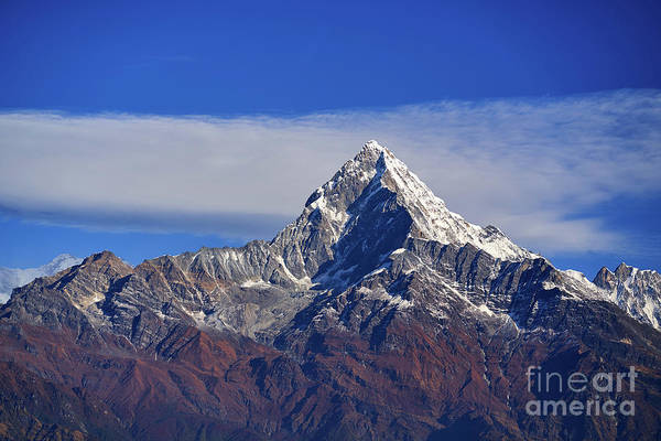 Photograph - Machapuchare Mountain Fishtail In Himalayas Range Nepal by Raimond Klavins