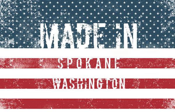 Spokane Digital Art - Made In Spokane, Washington by Tinto Designs