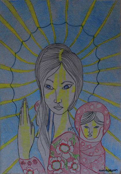 Painting - Madonna And Child Asia by Gloria Ssali