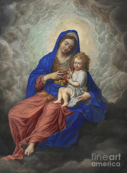 Wall Art - Painting - Madonna And Child In Glory by Isaac Oliver