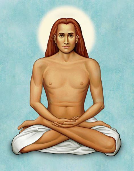 Mahavatar Babaji On Blue Art Print