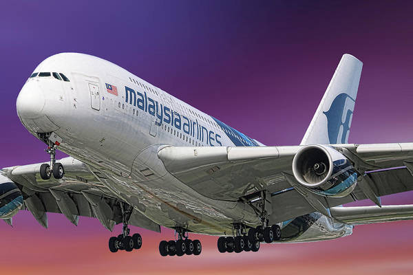 Wall Art - Mixed Media - Malaysia Airlines Airbus A380-841 by Smart Aviation