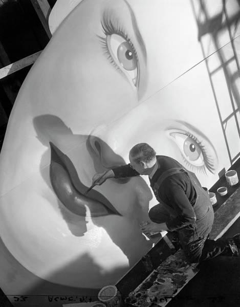 Human Face Photograph - Man Painting Billboard by Bettmann