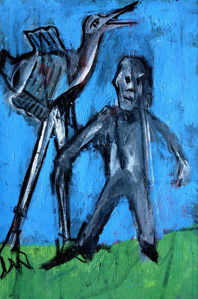 Painting - Man Standing With A Bird by Artist Dot