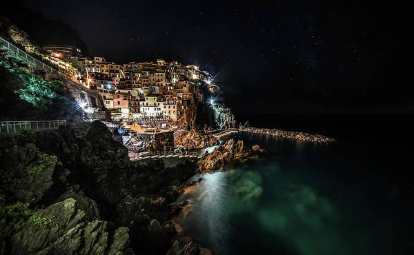 Wall Art - Photograph - Manarola At Night by Jaroslaw Blaminsky