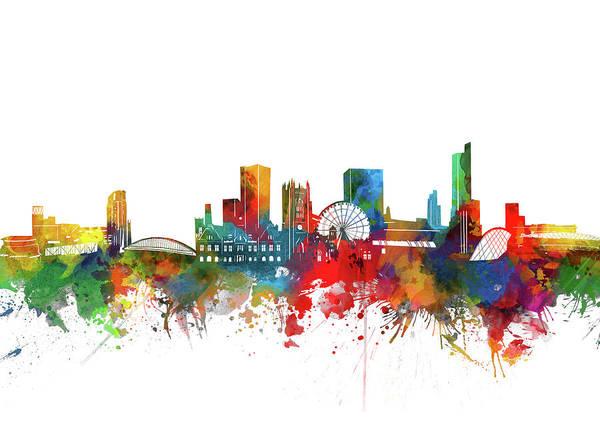 Manchester Digital Art - Manchester Skyline Watercolor by Bekim Art