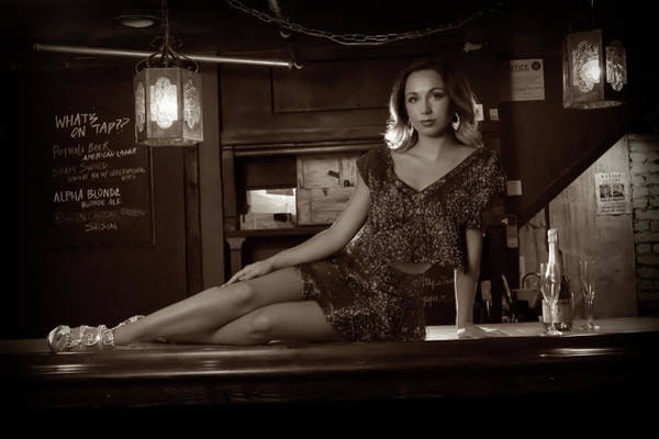 Photograph - Mandy Posing On The Bar In The Speakeasy by Dan Friend