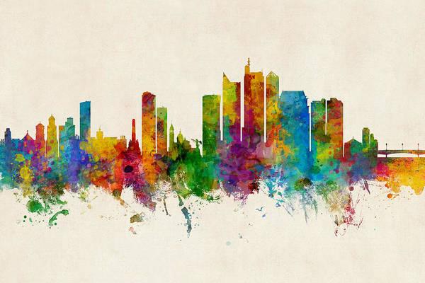Digital Art - Manila Philippines Skyline by Michael Tompsett
