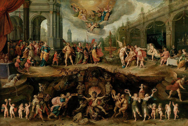 Wall Art - Painting - Mankind's Eternal Dilemma, The Choice Between Virtue And Vice by Frans Francken the Younger
