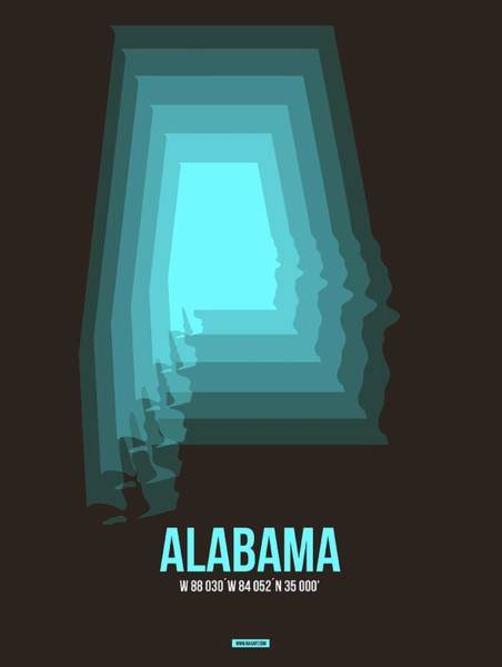 Wall Art - Digital Art - Map Of Alabama by Naxart Studio