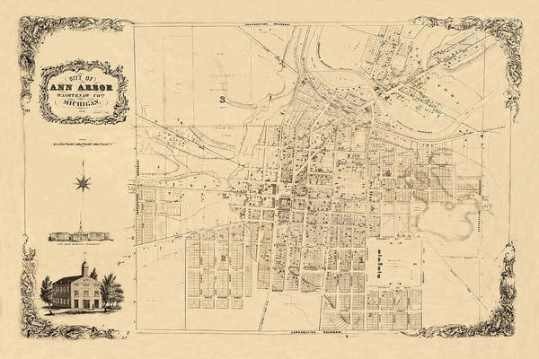 Photograph - Map Of Ann Arbor 1854 by Andrew Fare
