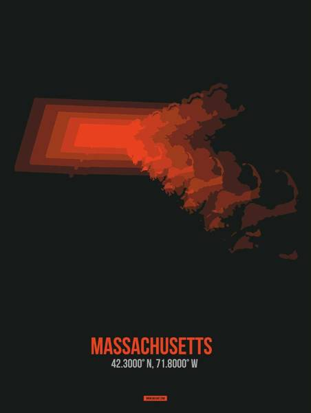 Wall Art - Digital Art - Map Of Massachusetts by Naxart Studio