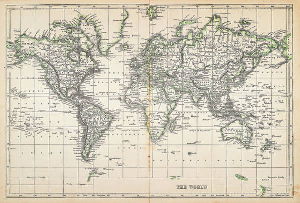 Map Of The World 1855 Art Print by Thepalmer