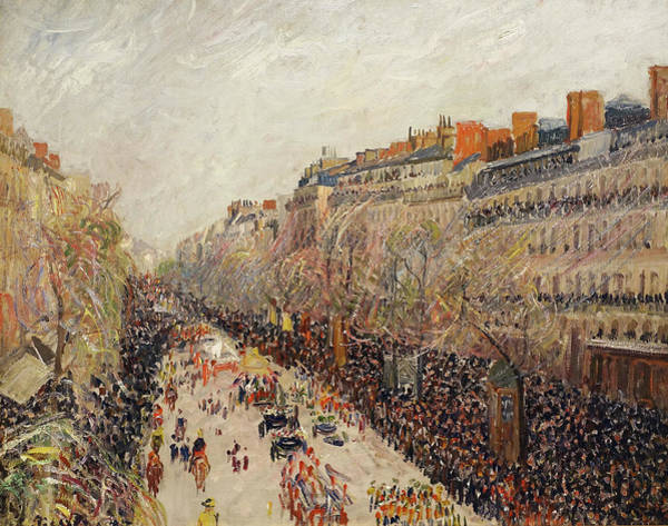 Wall Art - Painting - Mardi Gras On The Boulevards by Camille Pissarro