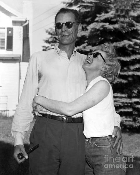 Roxbury Photograph - Marilyn Monroe And Her Fiance, Arthur by New York Daily News Archive