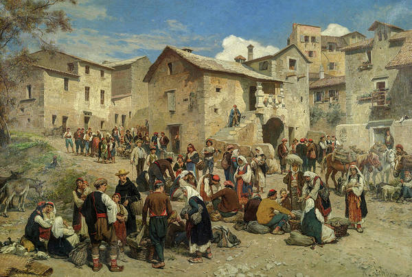 Wall Art - Painting - Market In Sarajevo by Alois Schonn