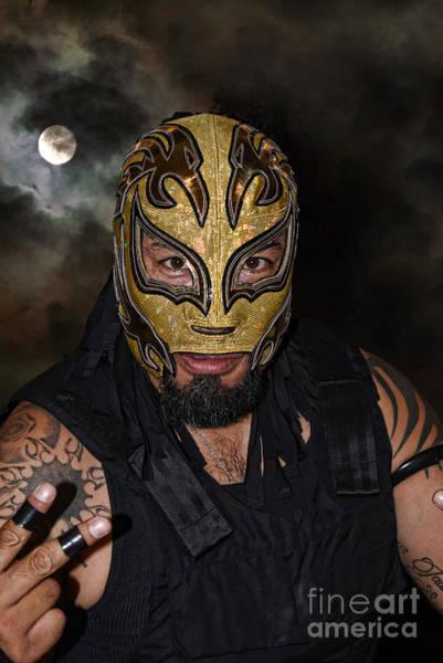 Pro Wrestler Wall Art - Digital Art - Masked Luchador Estilo Rudo by Jim Fitzpatrick