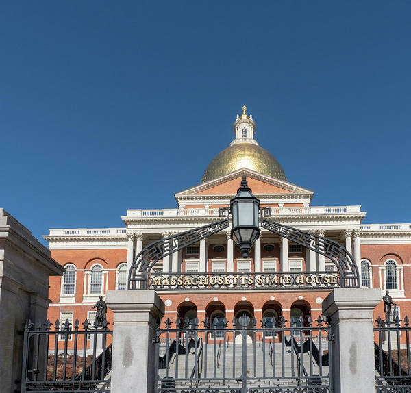 Photograph - Massachusetts State House On A Bright Blue Sky Day by Kyle Lee